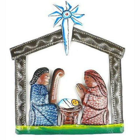 Mini Painted Recycled Steel Drum Nativity Scene - Croix des Bouquets (H)