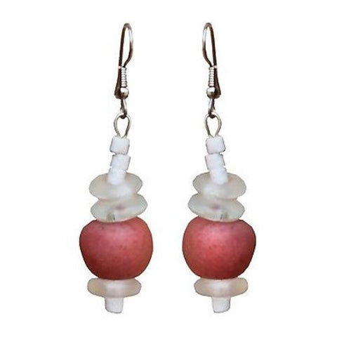 Recycled Pink Poppy Glass Abacus Earrings - Global Mamas
