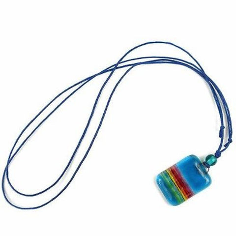Sky Blue Rainbow Fused Glass Pendant Necklace - Tili Glass