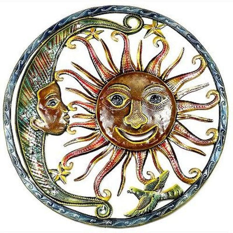 Sun and Moon Hand Painted 24-inch Metal Wall Art - Croix des Bouquets
