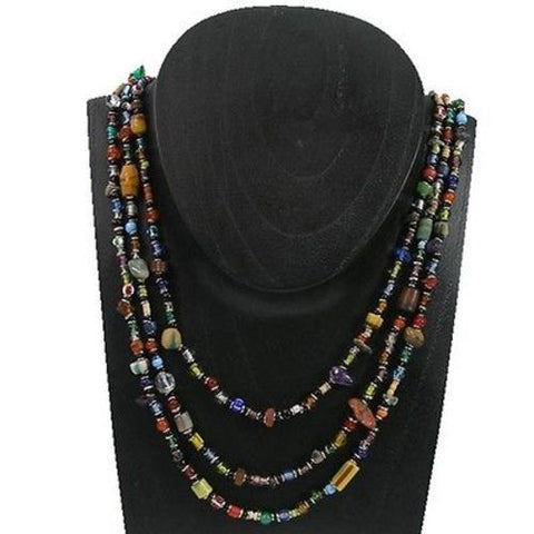 Multicolor 'Success' Triple Strand Beaded Necklace - Zakali Creations