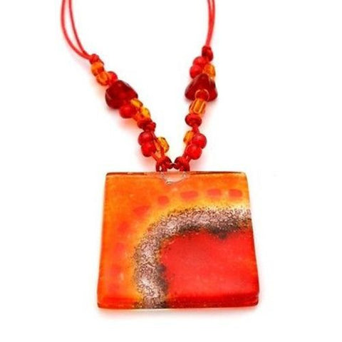 Lava Translucent Square Fused Glass Pendant Necklace - Tili Glass