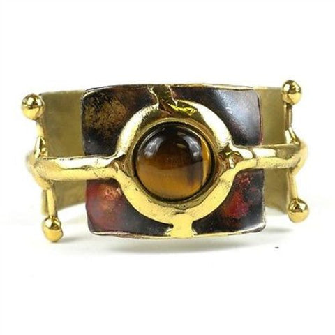 Gold Tiger Eye Ball and Jack Brass Cuff - Brass Images (C)