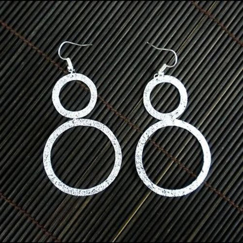 Large Silverplated Double Circle Earrings - Artisana