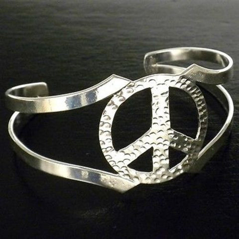 Silver Overlay Hammered Peace Cuff Bracelet - Artisana