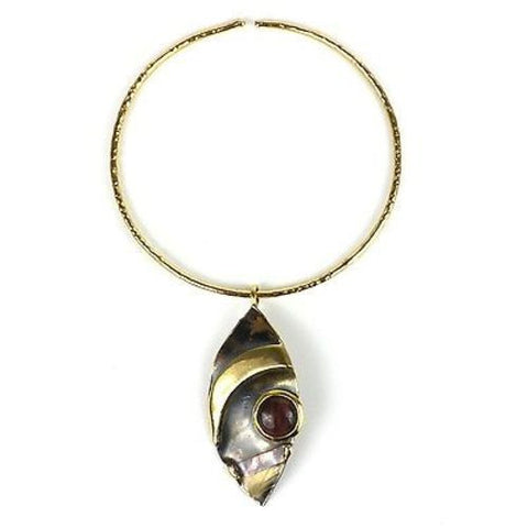 Red Tiger Eye Reflections Copper and Brass Pendant - Brass Images (N)