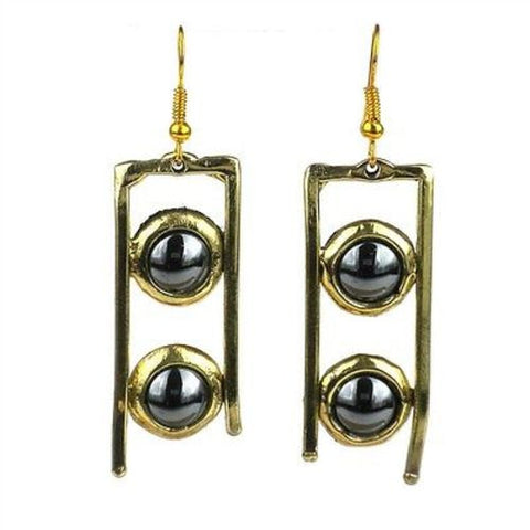 Hematite and Brass Ladder Earrings - Brass Images (E)