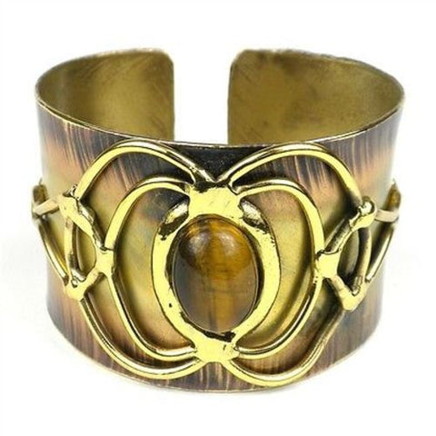Tiger Eye Bloom Cuff - Brass Images (C)