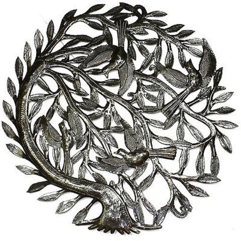 Tree of Life with Curved Trunk Metal Wall Art 24-inch Diameter - Croix des Bouquets