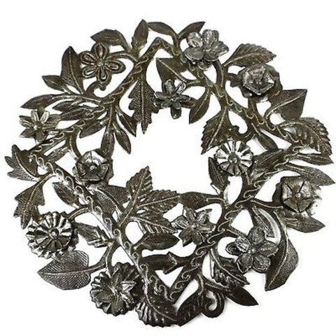 Steel Drum Wreath 15-inch Metal Wall Art - Croix des Bouquets