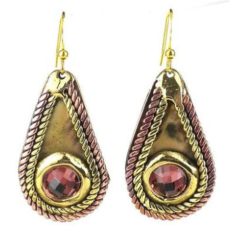 Rope and Rose Stone Earrings - Brass Images (E)