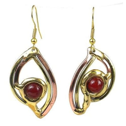 Handcrafted Carnelian Eye Brass Earrings - Brass Images (E)
