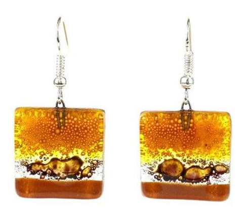 Handcrafted Sahara Square Fused Glass Earrings - Tili Glass