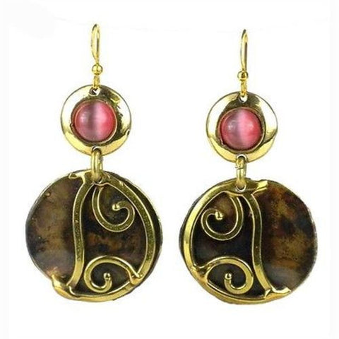 Pink Tiger Eye and Brass Scroll Earrings - Brass Images (E)