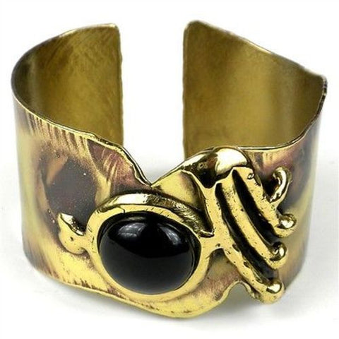 Onyx on Wing Brass Bangle - Brass Images (C)