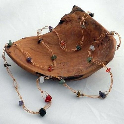 Recycled Tire Cord and Agate Necklace - Zakali Creations
