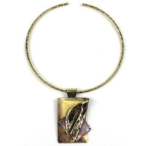 Layered Leaf Copper and Brass Pendant Necklace - Brass Images (N)