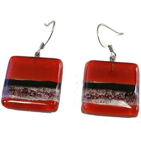 Square Fused Glass Earrings - Red and Bubbles Design - Tili Glass