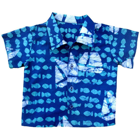 Babies Button Down Shirt Sailing Blue - Global Mamas (B)