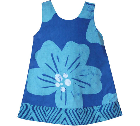 Girls Reversible Dress Giant Flower Teal - Global Mamas (C)
