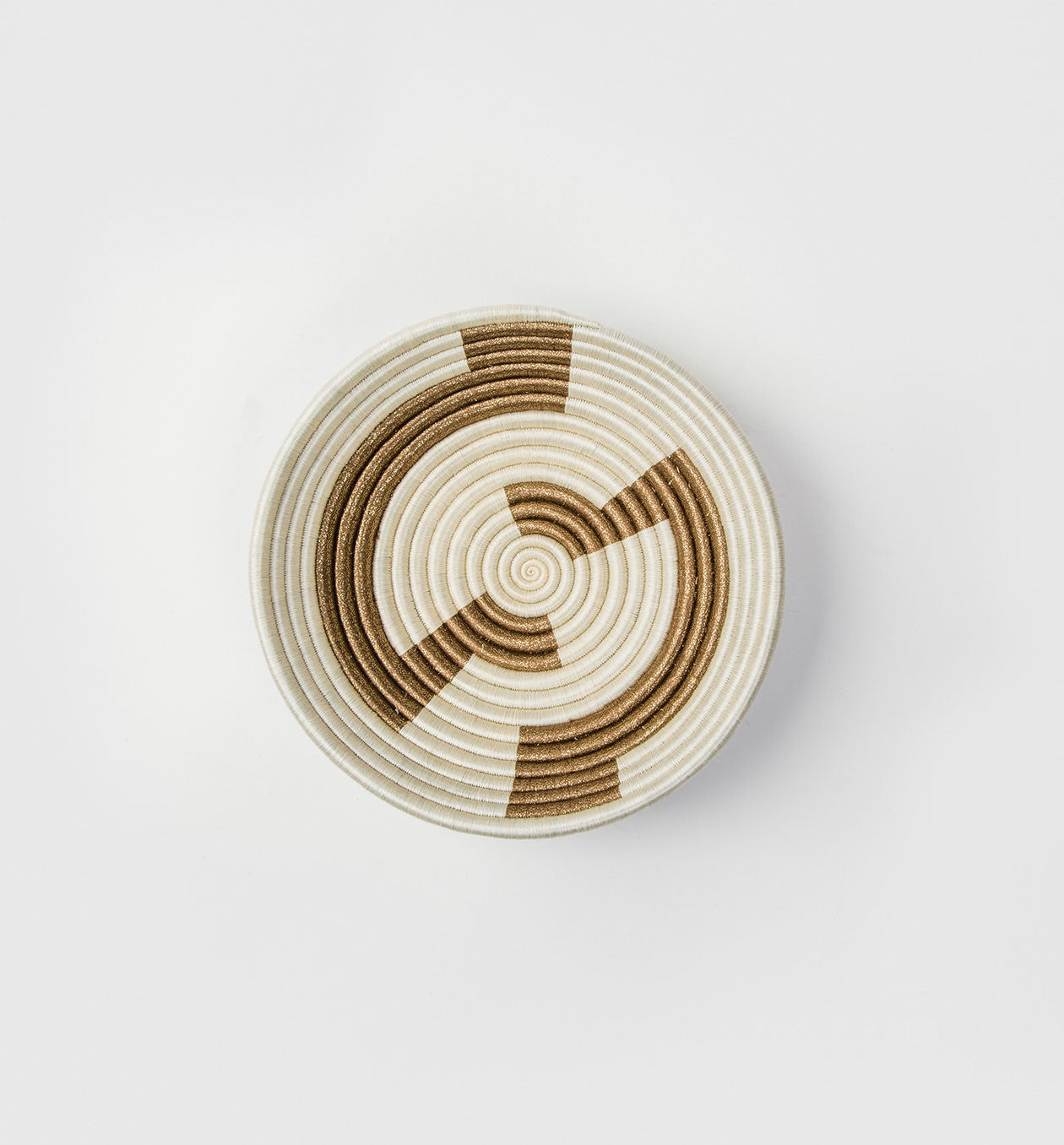 White Geometric Gold Plateau Basket