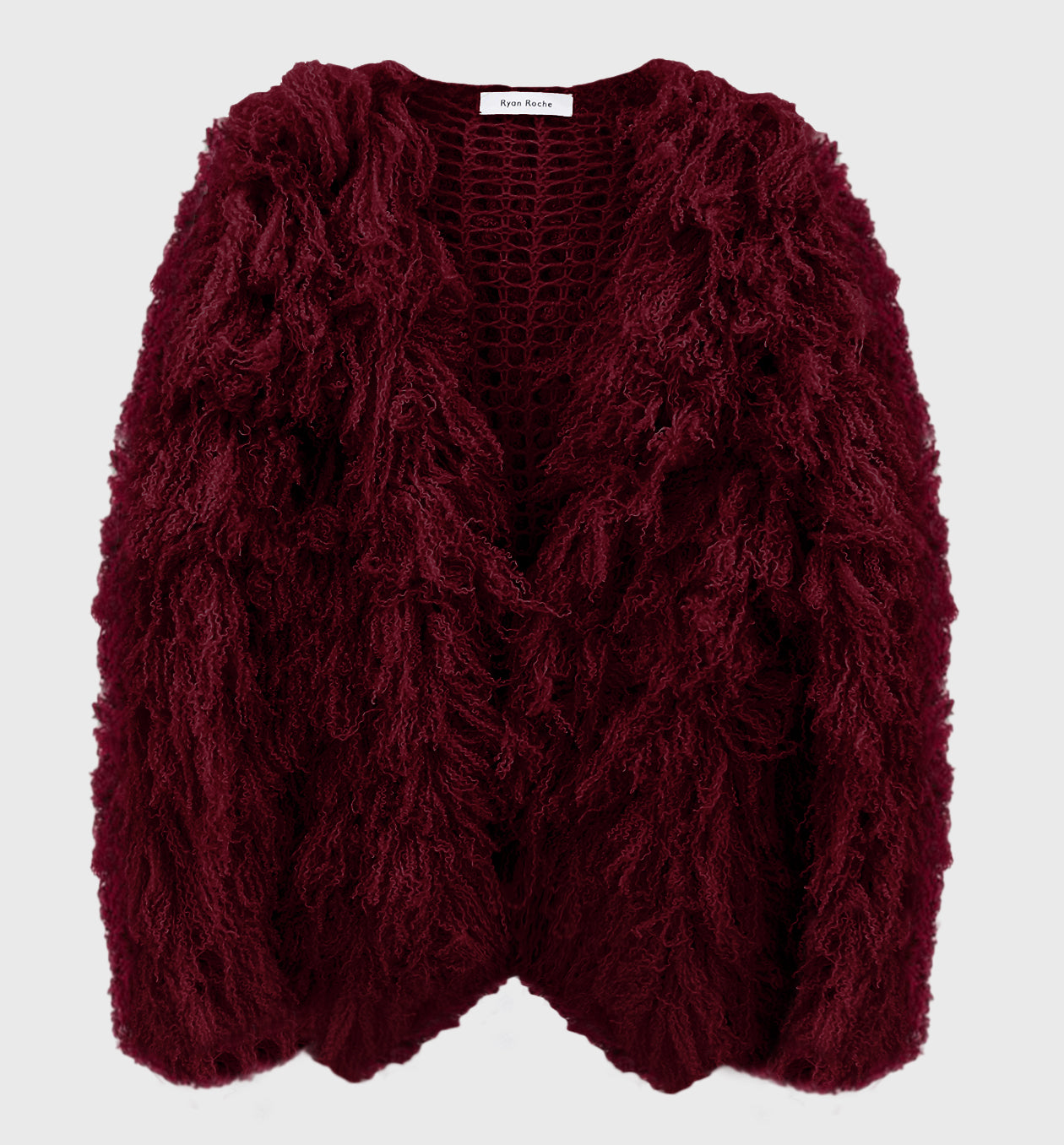 Cashmere Furry Cardigan Maroon