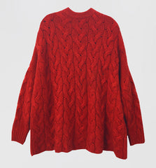 Crew Neck Oversized Cable Sweater Red