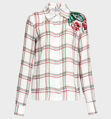 Windowpane Check Button-Up Blouse