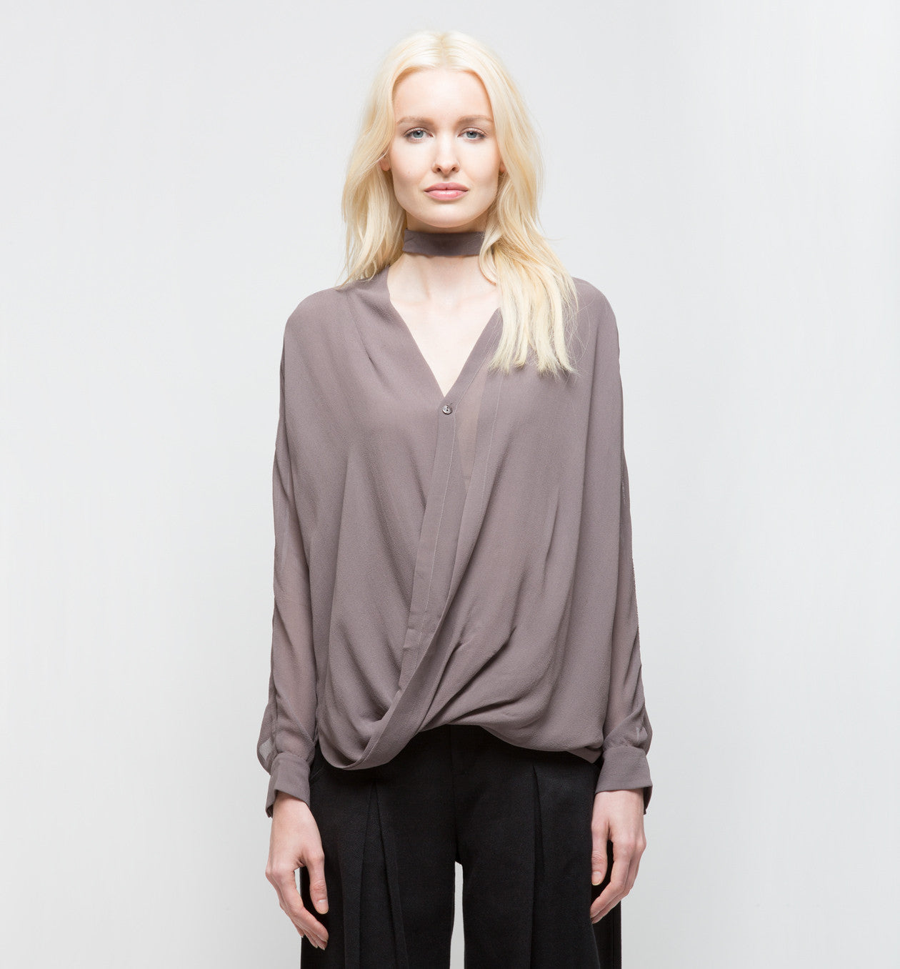 Draped Top with Collar Light Lavender