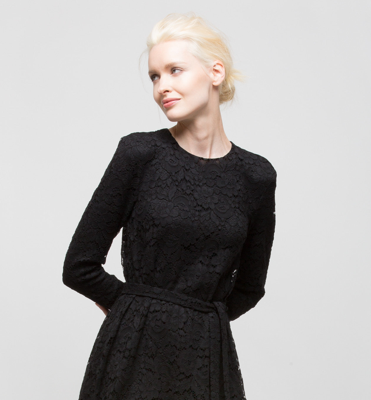Long-Sleeved Black Lace Dress