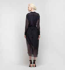 Button Up Dress with Side Slits Plum Black