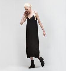 Double Layer Slip Dress Black