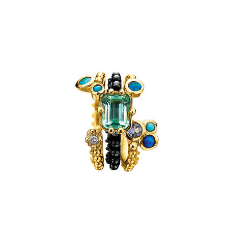 Boheme Emerald Blue Bouquet Trio Ring
