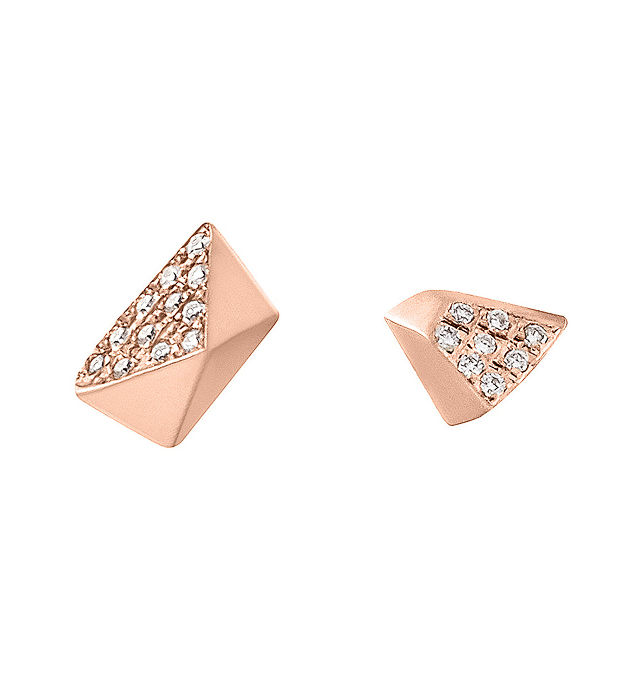 Diamond Mismatched Pyramid & Triangle Studs Rose Gold