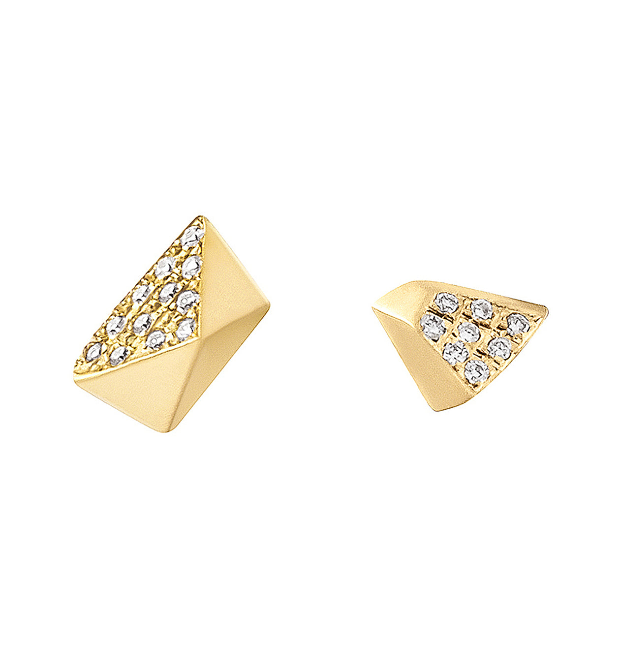 Diamond Mismatched Pyramid & Triangle Studs