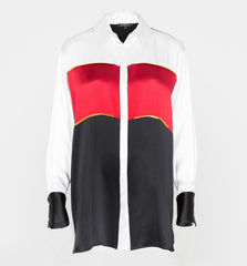 Oversize Color-blocked Boyfriend Shirt Red