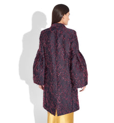 Long Evening Jacket With Pleated Sleeve