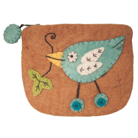 Felt Coin Purse - Button Bird - Wild Woolies (P)