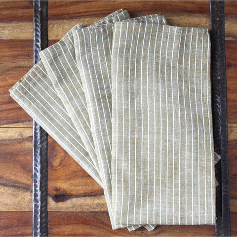 Cocoa Stripes 20 inch Cotton Napkin Set of 4 - Sustainable Threads (L)