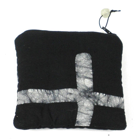 Batiked Coin Purse - Black - World Peaces (P)