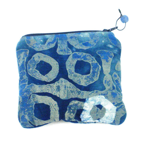 Batiked Coin Purse - Blue - World Peaces (P)