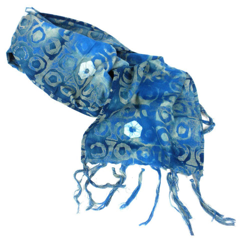 Batiked Scarf - Blue - World Peaces (S)