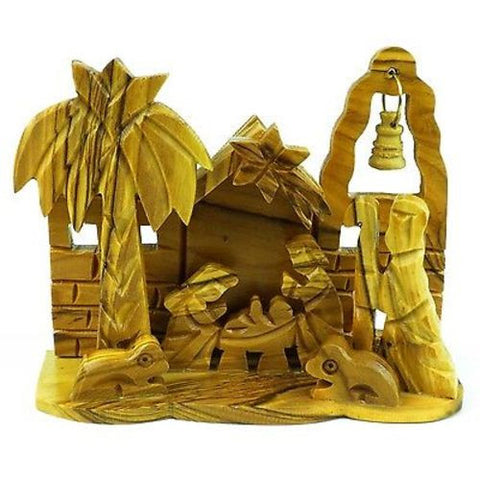 Olive Wood Medium Bell Nativity - Bethlehem