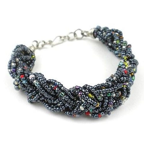 Black Six Strand Braid Beaded Bracelet - Zakali Creations
