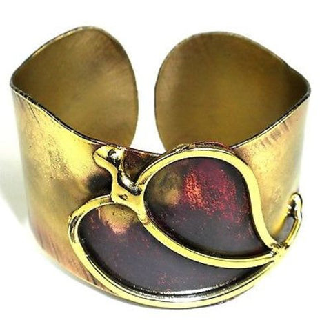 Large Single Heart Cuff - Brass Images (C)