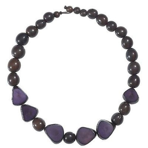 Gemma Tagua Necklace in Plum - Faire Collection