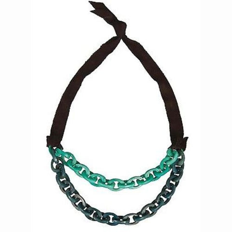 Dual Tagua Link Necklace in Aqua - Faire Collection