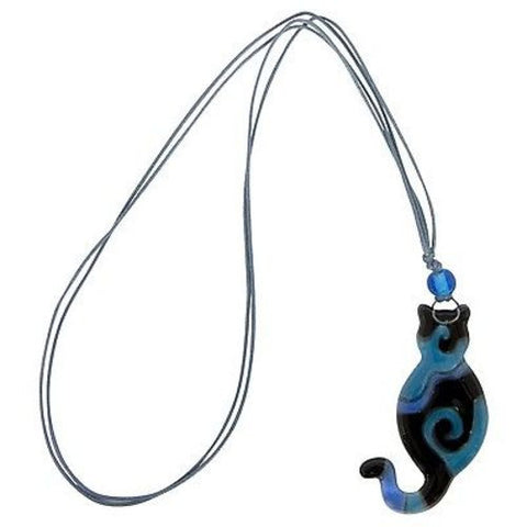 Blue Glass Swirl Cat Pendant Necklace - Chilean