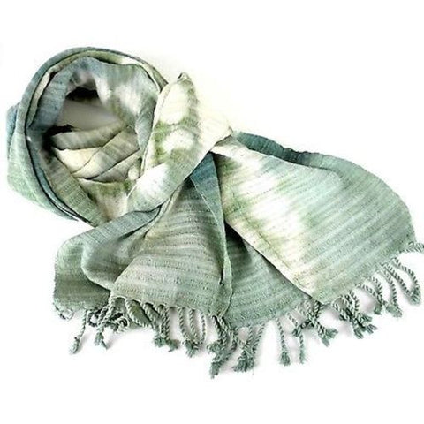 Natural Tie-Dye Cotton Scarf in Green - Maya Traditions (S)
