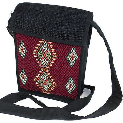 Backstrap Woven Chichi Multi Use Bag in Burgundy - Maya Traditions (B)